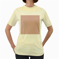 Baby Pink Stitched and Quilted Pattern Women s Yellow T-Shirt