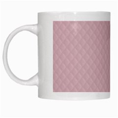 Baby Pink Stitched and Quilted Pattern White Mugs