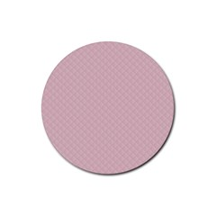 Baby Pink Stitched and Quilted Pattern Rubber Coaster (Round)