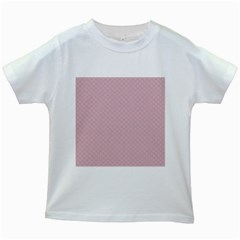 Baby Pink Stitched and Quilted Pattern Kids White T-Shirts