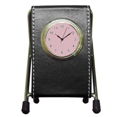 Baby Pink Stitched and Quilted Pattern Pen Holder Desk Clocks