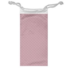 Baby Pink Stitched and Quilted Pattern Jewelry Bag