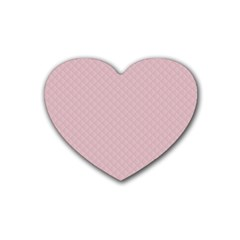 Baby Pink Stitched and Quilted Pattern Heart Coaster (4 pack)