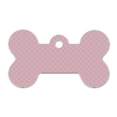 Baby Pink Stitched and Quilted Pattern Dog Tag Bone (One Side)
