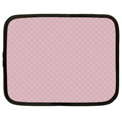 Baby Pink Stitched and Quilted Pattern Netbook Case (Large)