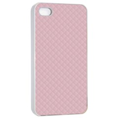 Baby Pink Stitched and Quilted Pattern Apple iPhone 4/4s Seamless Case (White)