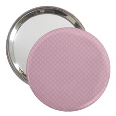 Baby Pink Stitched and Quilted Pattern 3  Handbag Mirrors