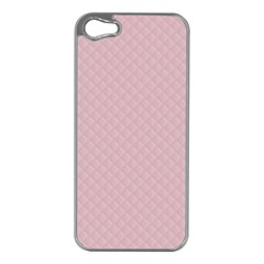 Baby Pink Stitched and Quilted Pattern Apple iPhone 5 Case (Silver)
