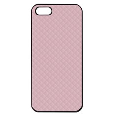 Baby Pink Stitched and Quilted Pattern Apple iPhone 5 Seamless Case (Black)