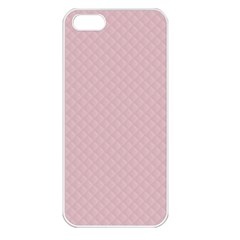 Baby Pink Stitched and Quilted Pattern Apple iPhone 5 Seamless Case (White)
