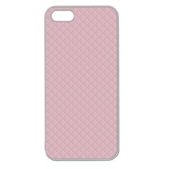 Baby Pink Stitched and Quilted Pattern Apple Seamless iPhone 5 Case (Clear)
