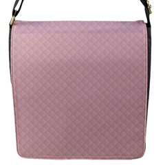 Baby Pink Stitched and Quilted Pattern Flap Messenger Bag (S)