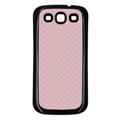 Baby Pink Stitched and Quilted Pattern Samsung Galaxy S3 Back Case (Black)