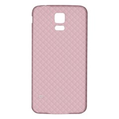 Baby Pink Stitched and Quilted Pattern Samsung Galaxy S5 Back Case (White)