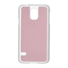 Baby Pink Stitched and Quilted Pattern Samsung Galaxy S5 Case (White)