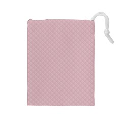 Baby Pink Stitched and Quilted Pattern Drawstring Pouches (Large)
