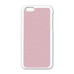 Baby Pink Stitched and Quilted Pattern Apple iPhone 6/6S White Enamel Case