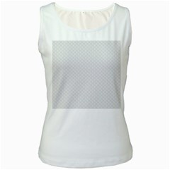 Bright White Stitched and Quilted Pattern Women s White Tank Top