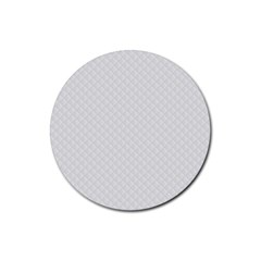 Bright White Stitched and Quilted Pattern Rubber Round Coaster (4 pack)