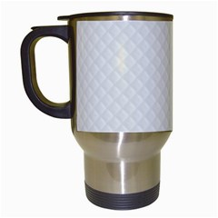 Bright White Stitched and Quilted Pattern Travel Mugs (White)