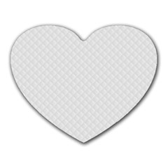 Bright White Stitched and Quilted Pattern Heart Mousepads
