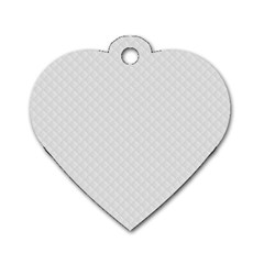 Bright White Stitched and Quilted Pattern Dog Tag Heart (Two Sides)