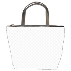 Bright White Stitched and Quilted Pattern Bucket Bags