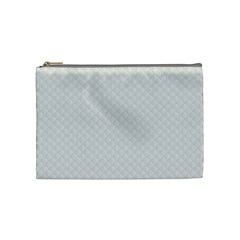 Bright White Stitched and Quilted Pattern Cosmetic Bag (Medium)