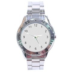 Bright White Stitched and Quilted Pattern Stainless Steel Analogue Watch