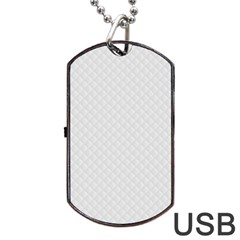 Bright White Stitched and Quilted Pattern Dog Tag USB Flash (Two Sides)