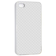 Bright White Stitched and Quilted Pattern Apple iPhone 4/4s Seamless Case (White)