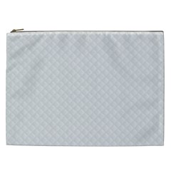 Bright White Stitched And Quilted Pattern Cosmetic Bag (xxl)