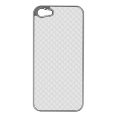 Bright White Stitched and Quilted Pattern Apple iPhone 5 Case (Silver)