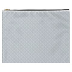 Bright White Stitched and Quilted Pattern Cosmetic Bag (XXXL)