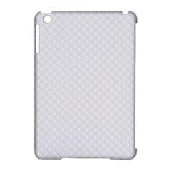 Bright White Stitched and Quilted Pattern Apple iPad Mini Hardshell Case (Compatible with Smart Cover)