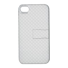 Bright White Stitched and Quilted Pattern Apple iPhone 4/4S Hardshell Case with Stand