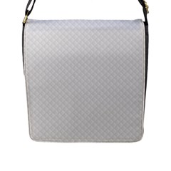Bright White Stitched and Quilted Pattern Flap Messenger Bag (L)