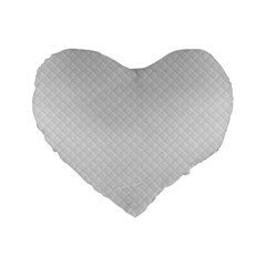 Bright White Stitched and Quilted Pattern Standard 16  Premium Flano Heart Shape Cushions