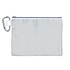 Bright White Stitched and Quilted Pattern Canvas Cosmetic Bag (L)