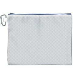 Bright White Stitched and Quilted Pattern Canvas Cosmetic Bag (XXXL)