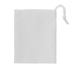 Bright White Stitched and Quilted Pattern Drawstring Pouches (Extra Large)