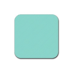 Tiffany Aqua Blue Diagonal Sailor Stripes Rubber Square Coaster (4 pack)