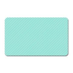 Tiffany Aqua Blue Diagonal Sailor Stripes Magnet (Rectangular)