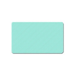 Tiffany Aqua Blue Diagonal Sailor Stripes Magnet (Name Card)