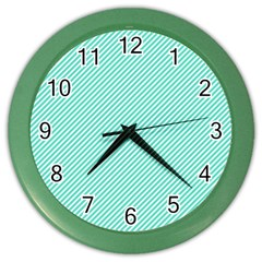 Tiffany Aqua Blue Diagonal Sailor Stripes Color Wall Clocks