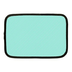 Tiffany Aqua Blue Diagonal Sailor Stripes Netbook Case (Medium)