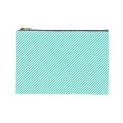 Tiffany Aqua Blue Diagonal Sailor Stripes Cosmetic Bag (Large)