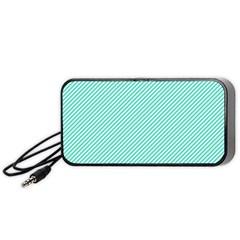 Tiffany Aqua Blue Diagonal Sailor Stripes Portable Speaker (Black)