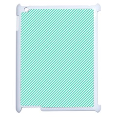 Tiffany Aqua Blue Diagonal Sailor Stripes Apple iPad 2 Case (White)