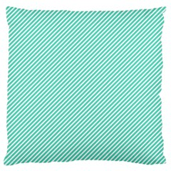 Tiffany Aqua Blue Diagonal Sailor Stripes Large Cushion Case (One Side)
